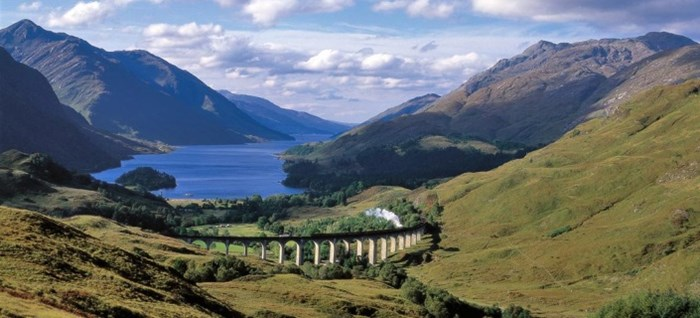 The Jacobite Express crossing the Glenfinnan Viaduct