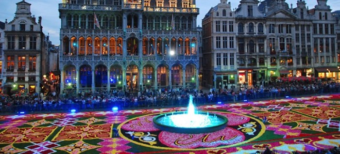 Brussels Flower Carpet at dusk