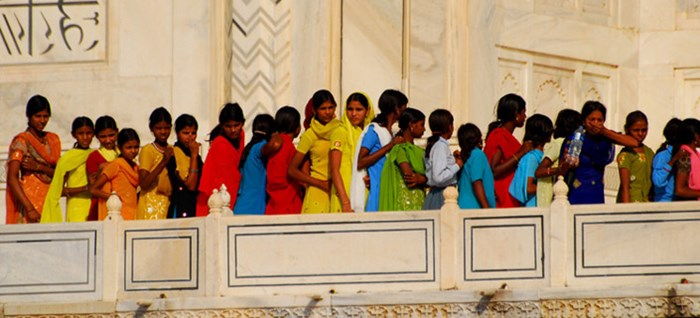 Locals Queuing at the Taj Mahal