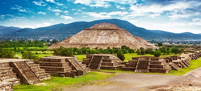Dead Teotihuacan ancient historic cultural city, old ruins of aztec civilization, Mexico