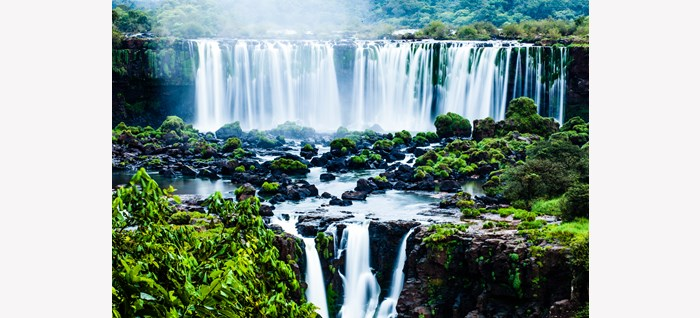 Iguassu Falls, the largest series of waterfalls of the world (view from the Brazilian side)
