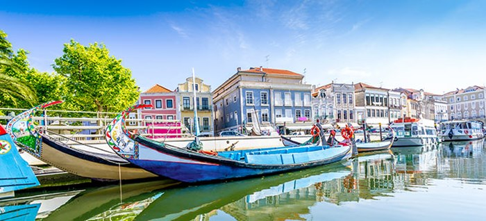 Panorama of Averio city and canals with boats, Portugal