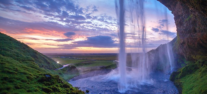 Seljalandfoss waterfall, Sunset island