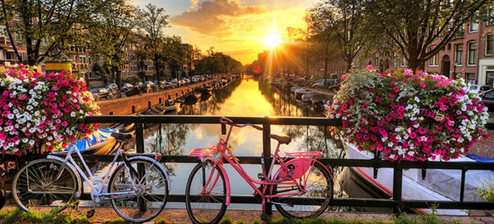 Sunrise in Amsterdam and bikes