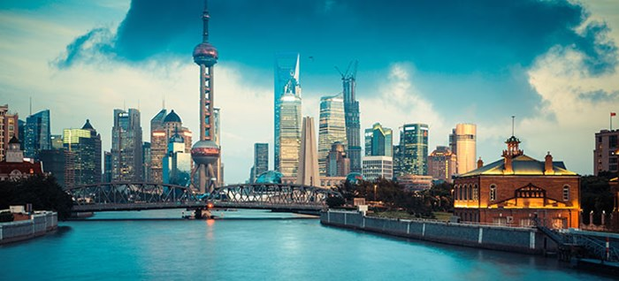 beautiful Shanghai in dusk view from Suzhou river