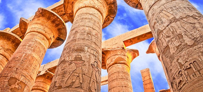 Great hypostyle hall and clouds at the temple of Karnak